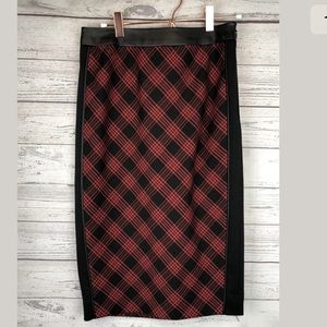 The limited plaid faux leather pencil skirt size 2